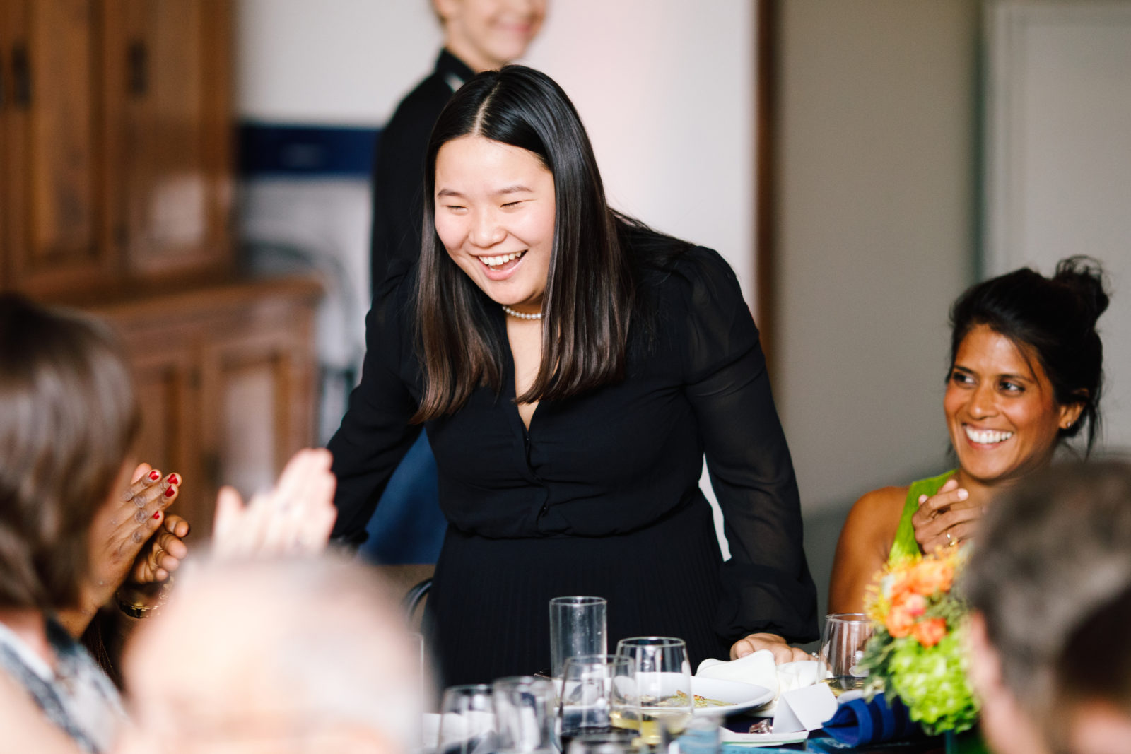 Miranda Wang reacts to winning 2018 Pritzker Award.