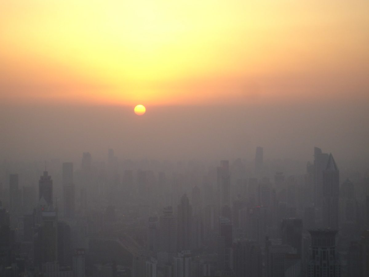 Air pollution at sunset in Shanghai, China.
