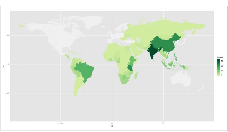 Fig 2. Users can also search by country to see, for example, where most studies have examined the relationship between resource management and economic living standards.