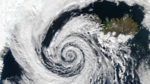 Cyclone over an island.