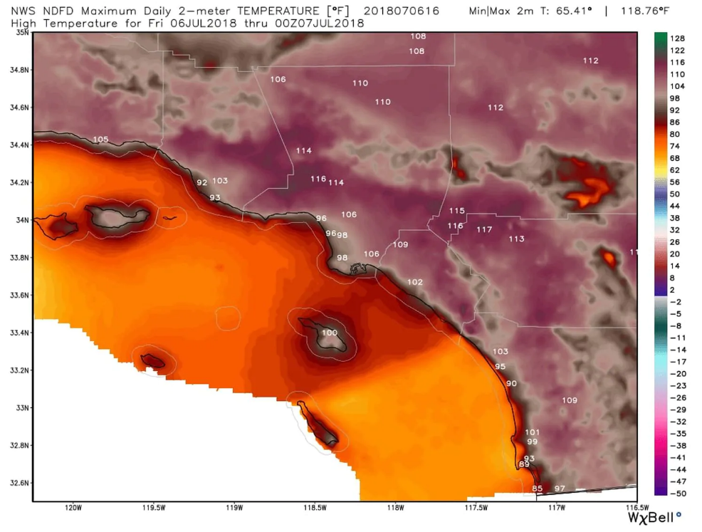 all-time high temperature records set throughout southern california, including los angeles