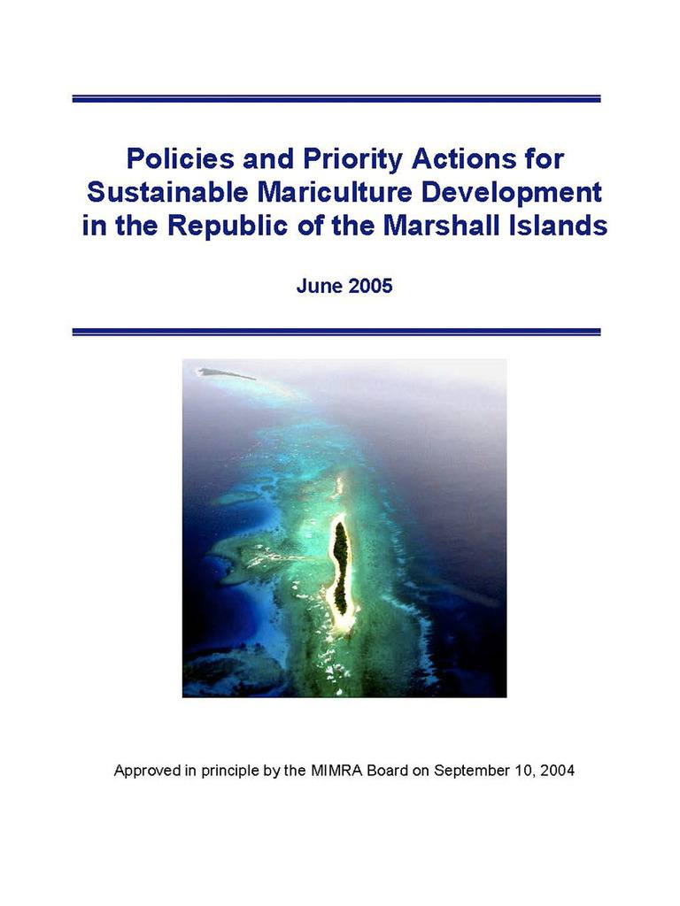 Policies and Priority Actions for Sustainable Mariculture Development in the Republic of the Marshall Islands