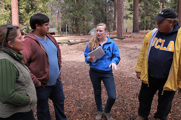 Emily Ann Parker, a student in the IoES senior capstone practicum research course, conducts a survey on water use at UCLA's Unicamp near Big Bear. Photo by John Vande Wege.