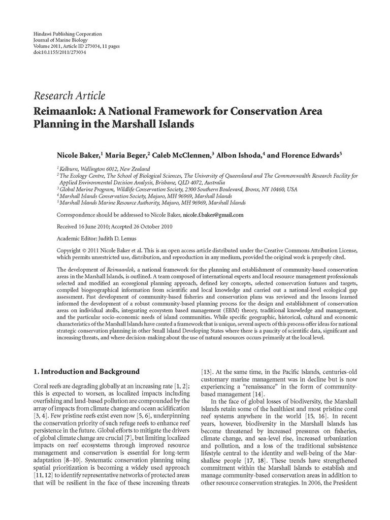 Reimaanlok: A National Framework for Conservation Area Planning in the Marshall Islands. (2011)