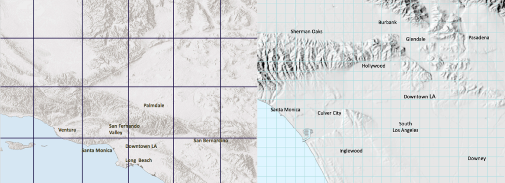 Left: The spatial resolution of a higher-resolution global climate model. This resolution is too coarse to represent the region's microclimates. Right: The 1.2-mile resolution achieved in the Climate Change in the Los Angeles Region Project. This resolution provides neighborhood-by-neighborhood data.