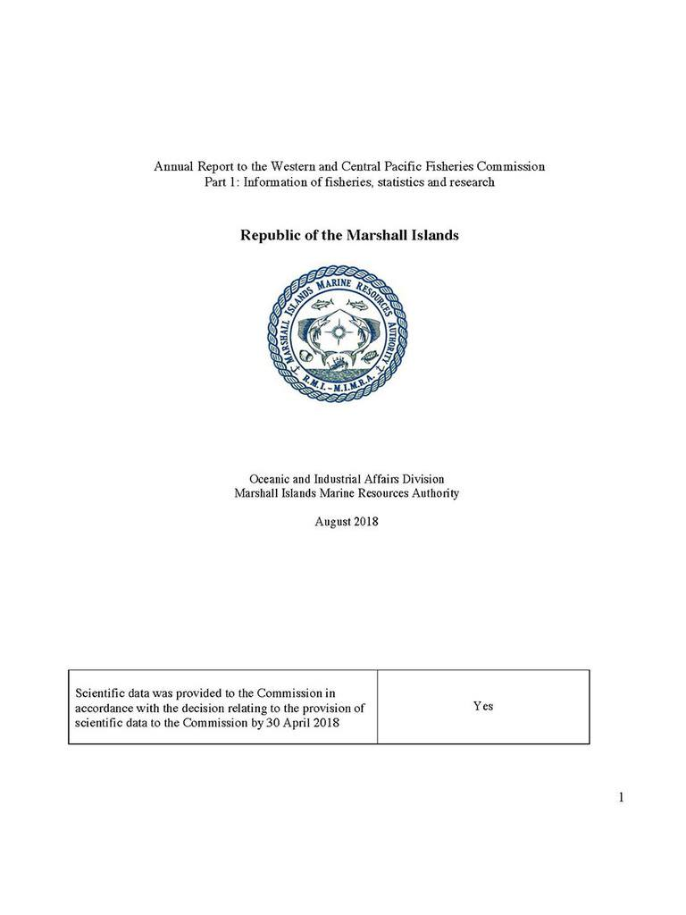 Republic of the Marshall Islands: Annual Report to the Commission. (2018)