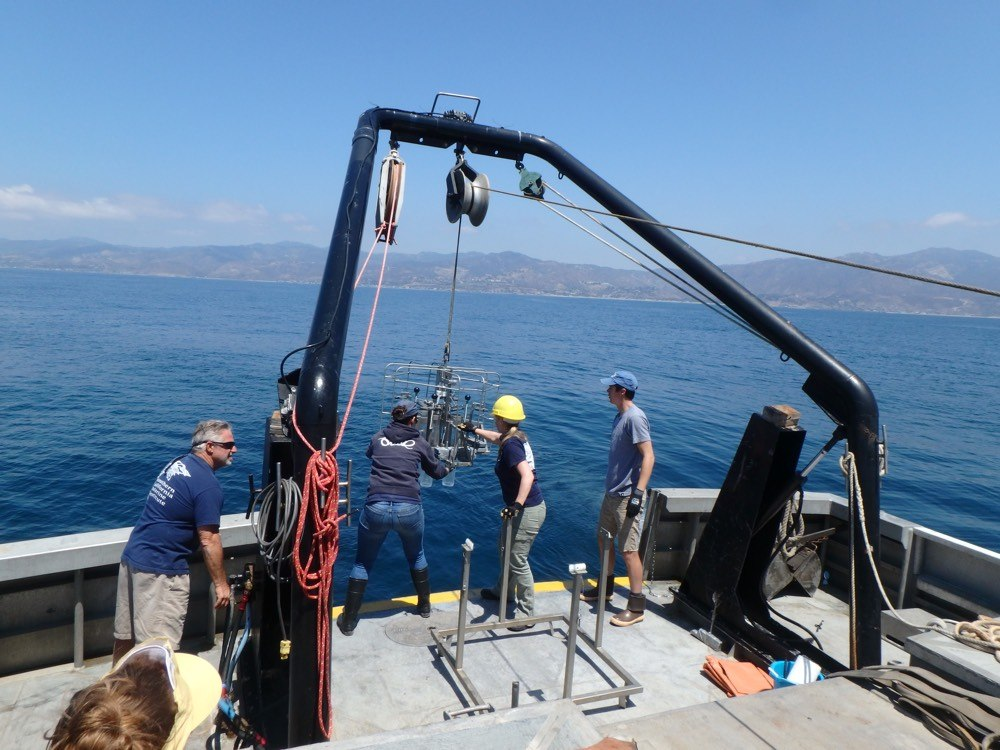 Multicorer deployment in the Santa Monica Bay off the coastline of Malibu in summer 2016 from aboard the R/V YELLOWFIN. Sediment cores recovered with this instrument are analyzed to study the historic spreading of low oxygen conditions in the Santa Monica Bay and its impact on biological processes.