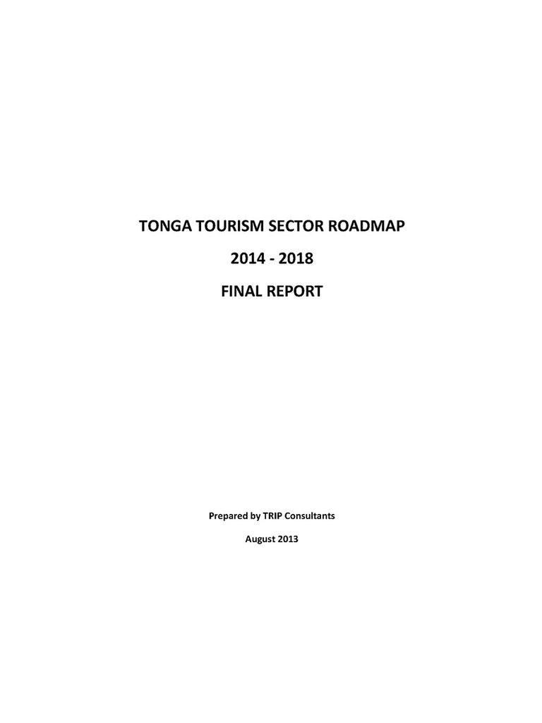Tonga Tourism Sector Roadmap 2014-2018 Final Report. (2013)